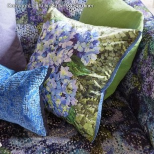 blå puder blomster