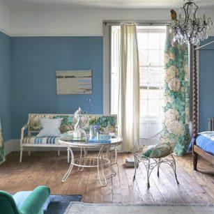 Gardin og møbelstof The Rose Swedish blue by John Derian