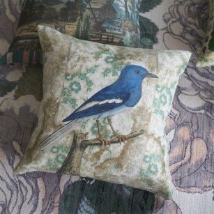 Designerpude Walpaper Birds sepia by John Derian