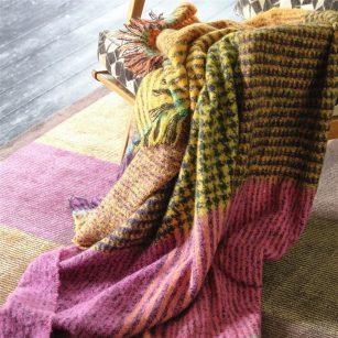 Designer plaid katan Fuchsia mohair by DesignersGuild