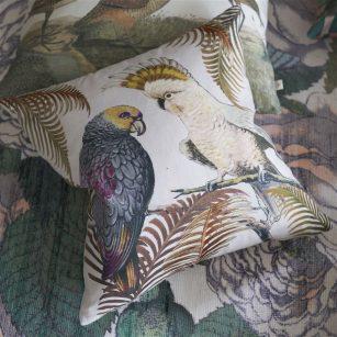 Designer pude Parrot and Palm Parchment by John Derian